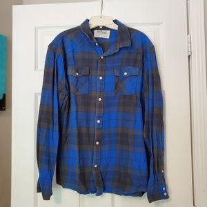 Men's Blue and Grey Flannel
